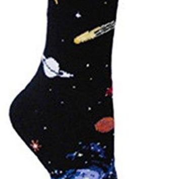 Celestial Space Black Ultra Lightweight Cotton Crew Socks  Made in USA