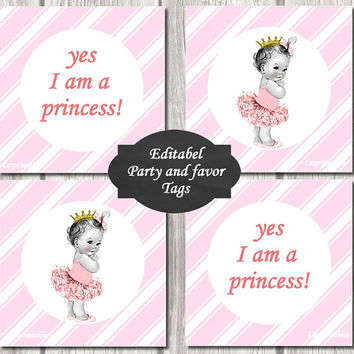 EDITABEL-Princess Baby Shower baby princess Cupcake Toppers Printable Party baby  DIY Party Toppers girl pink diagonal stripes favor tags
