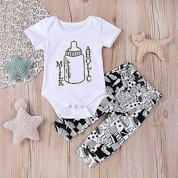 Milk-Aholic Newborn Baby Boys Girls Onsie + Pants Outfits 2Pcs