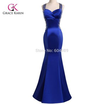 Real Photo Blue Evening Dress Grace Karin Backless Sequins Satin Mermaid Evening Dresses Long Party Dress Sexy Formal Gowns 4603