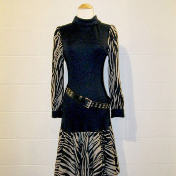 Vintage 80s New Wave Sweater Dress / Rocker Chic Drop Waist Dress / Women / S / M