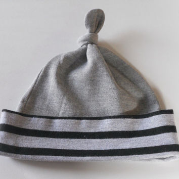 Grey and Black Striped Top Knot Jersey Knit Baby Hat For Boy or Girl, Beanie Baby Hat, Boy Baby Hat, Girl Baby Hat, Infant Hat, Newborn Hat