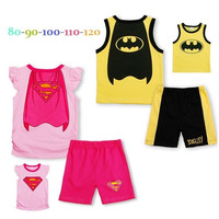 2015 Superman Girls Summer Clothes Suits Children T-shirts Tops Shorts Pants Set Retail = 1946025092