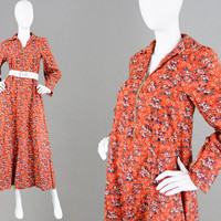 Vintage 70s LAURA ASHLEY Made in Wales Cotton Maxi Dress Orange Boho Dress Floral Print Dress Bishop Sleeve Regency Dress Long Summer Dress