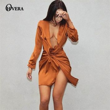 OHVERA Best Vestidos 2017 Elegant Solid Long Sleeve dresses Fashion Women Summer Dress Sexy Slim Party Dresses Vestido De Festa
