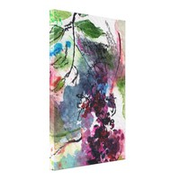 Berries Organic Abstract Ink and Watercolor Canvas Print