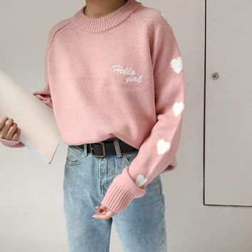 Embroidery Outwear Cute Loose Preppy Style Harajuku Ladies Winter Knitwear Women Kawaii Sweaters And Pullovers 2SWT1094