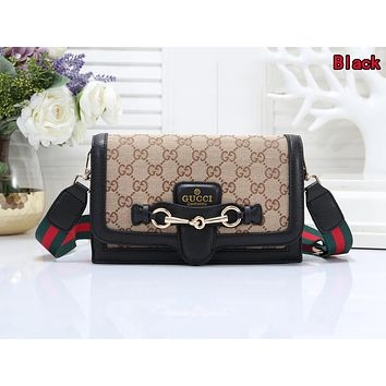 GUCCI Popular Women Shopping Bag Leather Crossbody Satchel Shoulder Bag Black