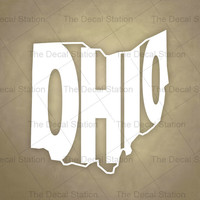 Ohio Vinyl Decal Sticker for Car Truck Auto. Word Art . US State Pride.