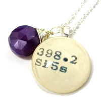 Royal Purple Plum Chalcedony Sterling Silver Library Dewey Decimal Necklace