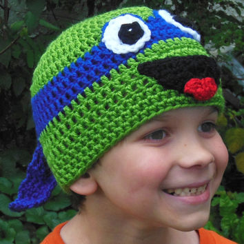 Crochet Teenage Mutant Ninja Turtle hat, Child Adult hat, costume photo prop