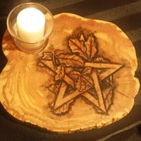 Pentacle altar or tabletop decorative votive candle or incesnse burner holder. Crafted and burned onto Eastern Red Cedar wood.