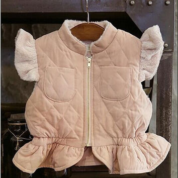 Lovely easy fit korean girl boutique cotton fall winter vest girl flying sleeve vest coat toddle ruffles jacket clothes 5pcs/lot