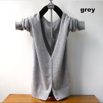 Free shipping Cashmere Cardigan V-Neck Sweater 2016 Autumn And Winter Female Long Sleeve Wool  Knitted