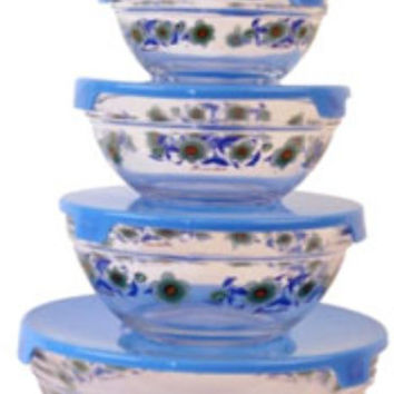 imperial home glass bowl w/ blue sunflowers - 5 piece set Case of 12