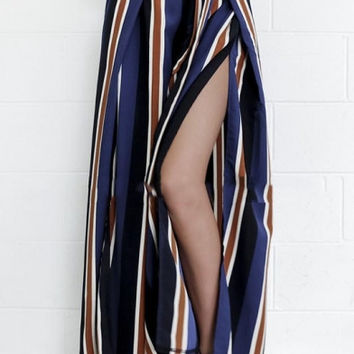Women's Trendy Striped Side Split Wide Leg Pants