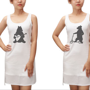 Bear is playing music and driving Print Fit Sporty Tank Tunic Dress WDS_13