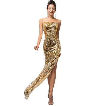 Black Gold Mermaid Long Evening Dresses with Sequins High Split Luxury Evening Gowns 2017 Backless Wedding Formal Dress 7589
