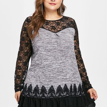 Wipalo Plus Size Sheer Lace Panel Layered Ruffled Marled Tunic T-Shirt Casual O-Neck Long Sleeve Flounce Tee Top Big Size 5XL