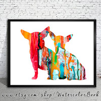 Chihuahua 8 Watercolor Print, Archival Fine Art Print, Children's Wall Art, Home Decor, dog watercolor, watercolor painting, dog art,