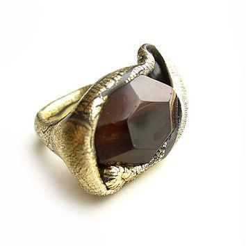 Brown Agate Golden Statement Ring - LARGE ring - big bold handmade cocktail ring - SUP