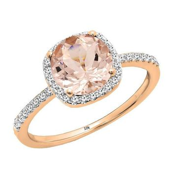 10K Rose Gold Round Cut Morganite & White Diamond Halo Bridal Engagement Ring