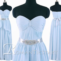 2015 blue A-Line long prom dress with beaded crystal sash,floor-length bridesmaid dress,chiffon formal dress,bridal dress,RS1079