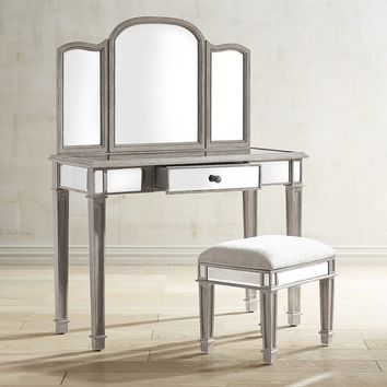 Hayworth Weathered Oak Mirror & Vanity Set
