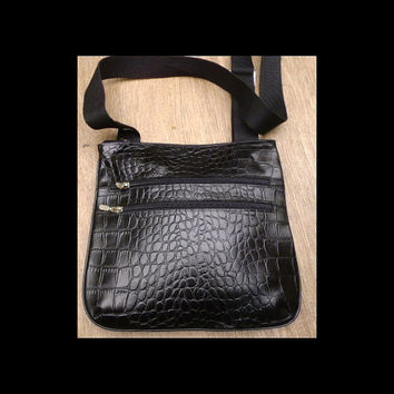 black leather crocodile embossed shoulder bag