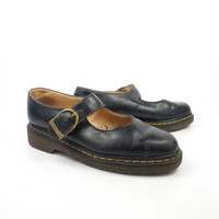 Dr Martens Shoes Mary Janes 1990 Doc Black Leather Made in England UK size 5 US size 7