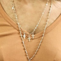 Gold Double Layer Necklace With Large Cross