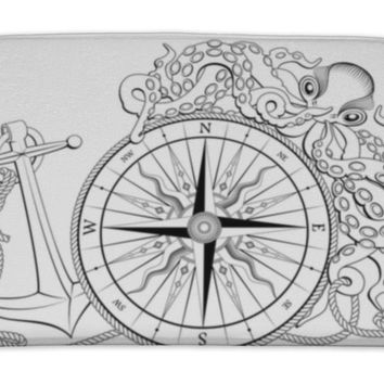 Bath Mat, Compass With Anchor And Octopus