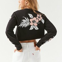 UO Hawaiian Flower Cropped Long Sleeve Tee | Urban Outfitters Canada