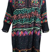 Womens Tunic Dress Neck Embroidered Black Button Front Casual Loose Shift Sundress: Amazon.ca: Clothing & Accessories