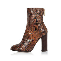 Brown leather snake heeled ankle boots - ankle boots - shoes / boots - women