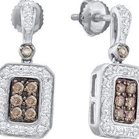 Cognac Diamond Ladies Fashion Earrings in 14k White Gold 0.5 ctw