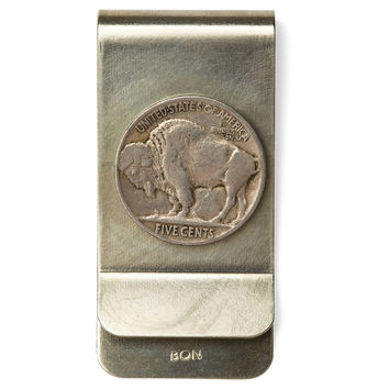 Antique Nickel Money Clip, Buffalo, Money Clips