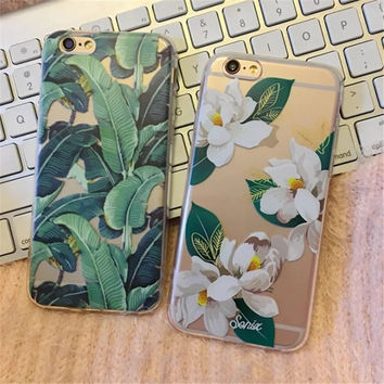 Banana Leaf Floral Phone Cases For iPhone 5s 5 SE 6 6s 6 Plus Silicon Soft Transparent TPU Flower Back Cover Case   C730