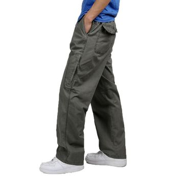 Plus Size 3XL 4XL 5XL 6XL  Long Full Length Winter Cargo Pants Men Drawstring Cotton Men Trouser Military Style Casual Pants 51