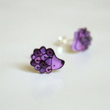 Earrings Hedgehogs Studs by lacravatteduchien on Etsy