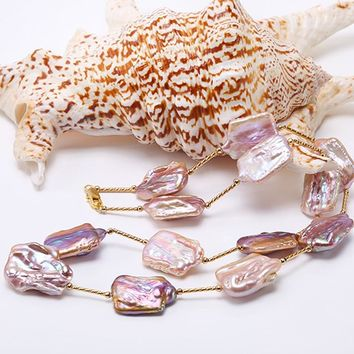 Baroque Pearl Necklace 16.5-22mm  Natural Lavender South Sea  Necklace  AAA Party Wedding Jewery