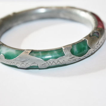 Antique Chinese Bangle Bracelet Jade Silver Cased  1930s Jewelry