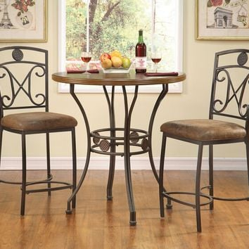 "Acme 96068-61 3 pc Tavio walnut finish wood and bronze metal finish 36"" round bar table set"