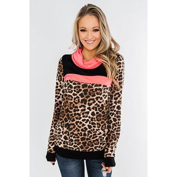 Born To Be Bold Cowl Neck Pullover- Leopard & Neon Pink
