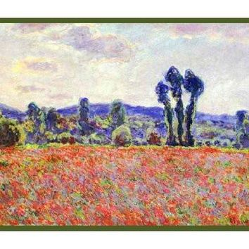 Field of Poppies inspired by Claude Monet's impressionist painting Counted Cross Stitch or Counted Needlepoint Pattern