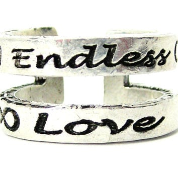 Double Band Endless Love Sterling Silver Plated Unisex Cuff Ring