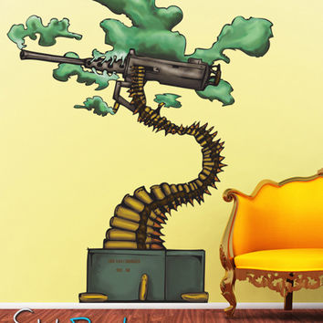 Graphic Wall Decal Sticker Abstract Bonsai Machine Gun #JH154