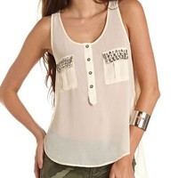 Jeweled Pocket Hi-Low Tank: Charlotte Russe