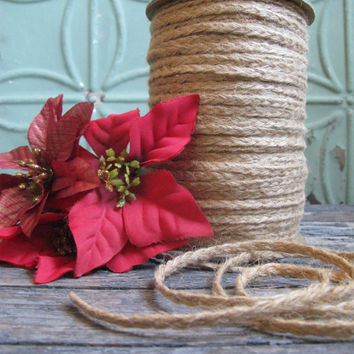 Vintage Braided Jute, By the Yard, Macrame Supplies, Gift Wrap Supplies