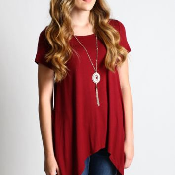 Burgundy Asymmetrical Hem Top with Detachable Necklace